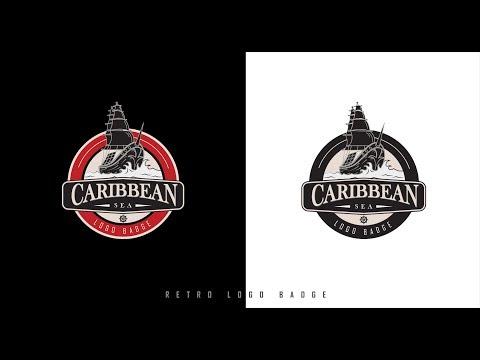 Retro Logo Badge | Adobe Illustrator Tutorial | Caribbean