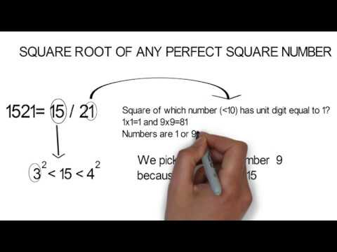 Square root of any perfect square number in 2 mins (specially 4 and 5 digit number)