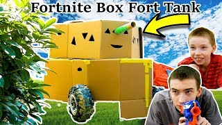 fortnite cardboard box fort tank in real life nerf battle