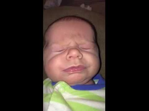 Baby sneezes in slow motion and it's adorable