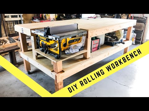 HOW TO MAKE A ROLLING TABLE SAW AND JOINTER WORK BENCH DIY