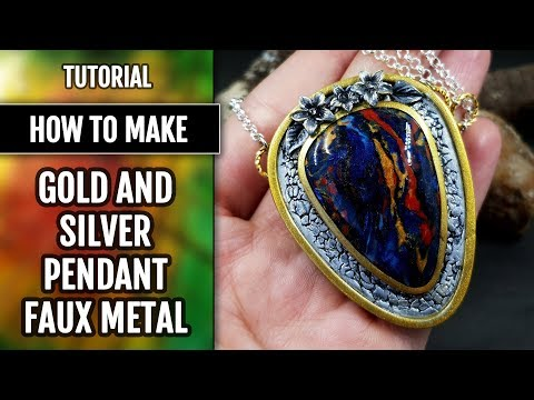 How to make: Gold and silver Pendant with faux Pietersite stone imitation from polymer clay!