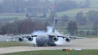 U.S. Air Force Boeing C-17 departure at Zurich Airport - insane STOL takeoff!!!