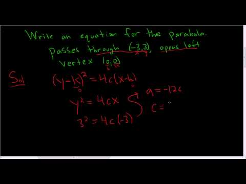 Finding the Equation of the Parabola Given a Point and the Vertex