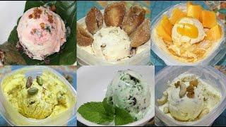 7 Indian Ice Cream Recipes - Flavors: Pan, Chikoo, Mango, Badam Anjir, Pudina, & Kesar Pista