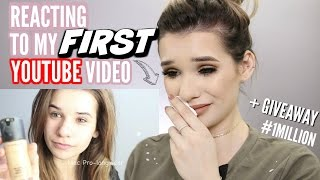 REACTING to my FIRST Youtube Video EVER! *EMOTIONAL* + GIVEAWAY!
