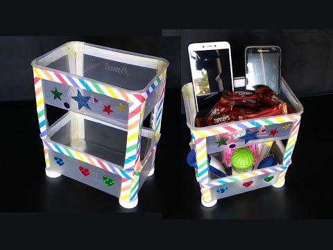 Plastic Bottle & Sweet Box Rack | Plastic Bottle  Craft | Organizer From Waste Plastic Bottle & Box