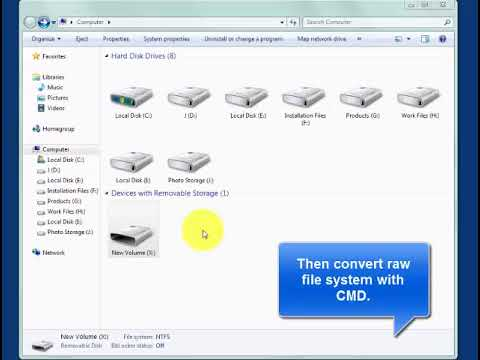 Convert raw file system to ntfs with CMD command prompt