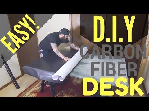 How to make your own DIY carbon fiber vinyl wrap MDF desk tutorial