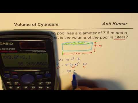 Calculate Volume of Cylindrical Pool in Meter cube and Liters