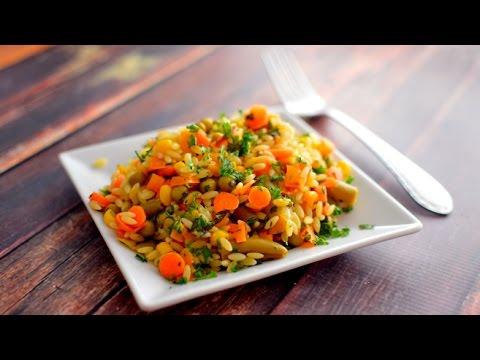 Vegan Orzo Pasta Salad - Fresh Herbs & Veggies