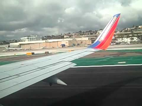Southwest flight 3008 - San Diego to Phoenix - pushback, taxi and takeoff