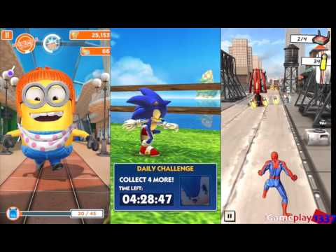 MINION RUSH vs SONIC DASH vs SPIDER-MAN UNLIMITED - for iOS: iPhone / iPad, Android