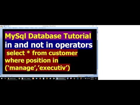 How To Use in and not in operator in SQL SELECT Statement - MySql Database Bangla Tutorial Part 18