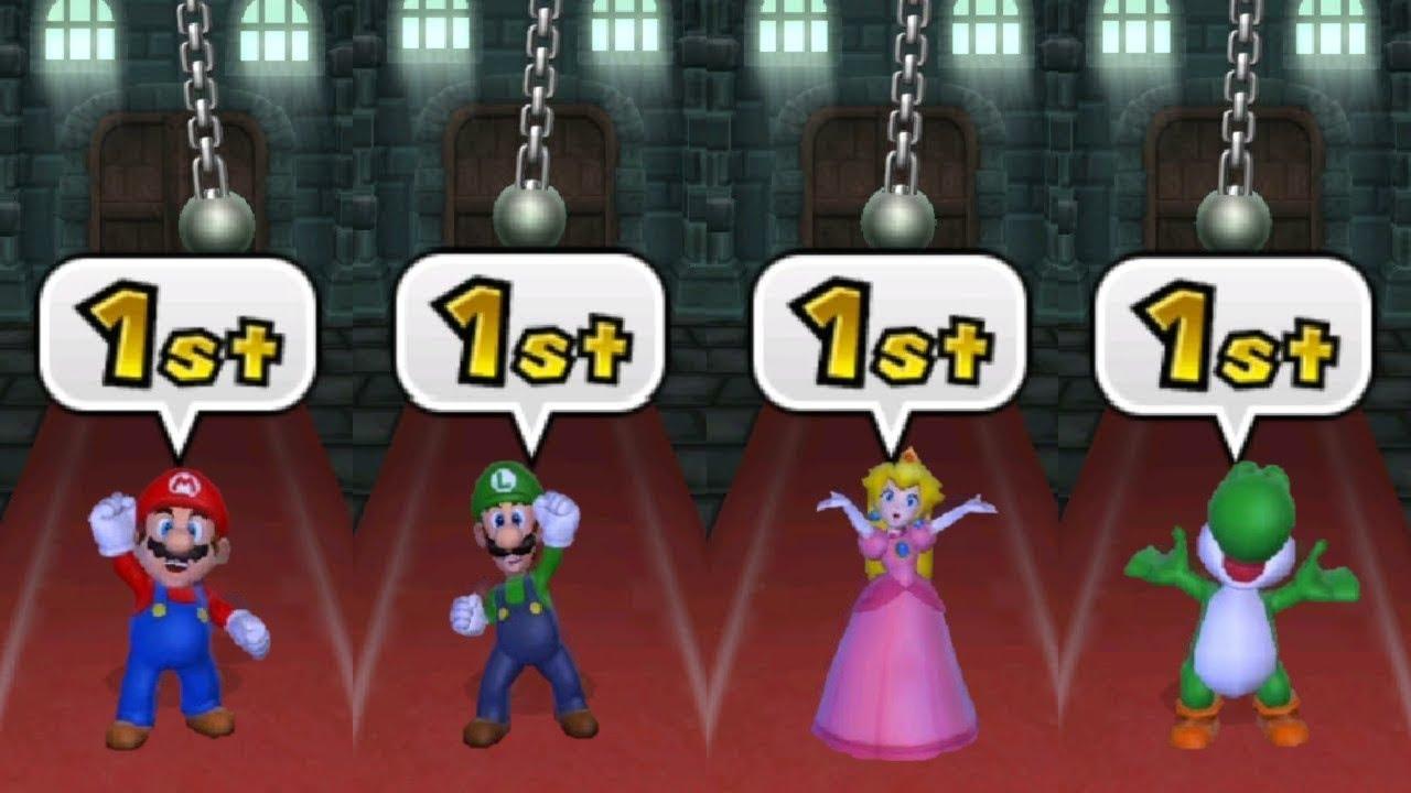 Mario Party 9 - All Tricky Minigames - Mario vs Luigi vs Peach vs Daisy