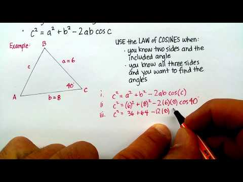 Triangles: Law of Cosines (Finding a Side)