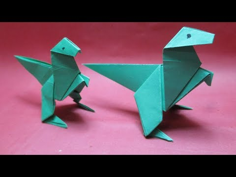 How to make origami animals: Dinosaur/paper dinosaur making instruction step by step.