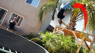 We played Parkourse in our Backyard Trampoline Park!! *EXTREME STUNTS*