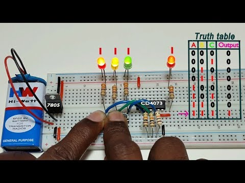 How to work 3 input AND logic gate , using CD4073 ic, in Tamil & English,தமிழ் எலெக்ட்ரானிக்ஸ்