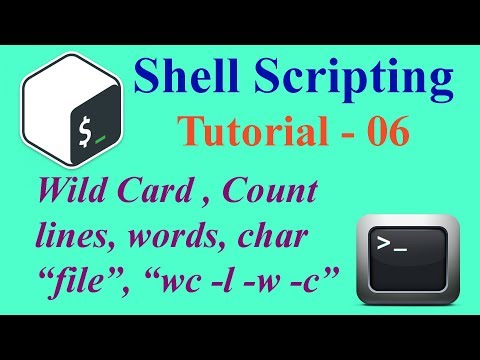 Shell Scripting Tutorial - 06: Wild Card, Count No of words lines characters in File | Som Tips