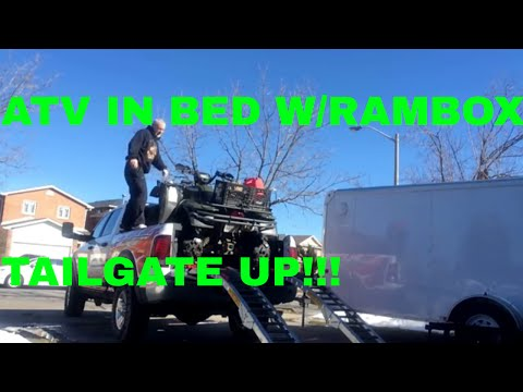 Ram 2500 Power Wagon with ATV loaded in 6.4' bed with Rambox, tailgate up!