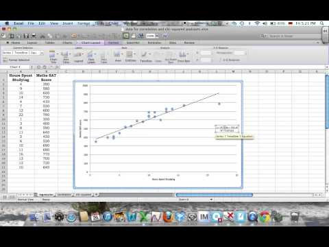 Using Excel to calculate the correlation coefficient