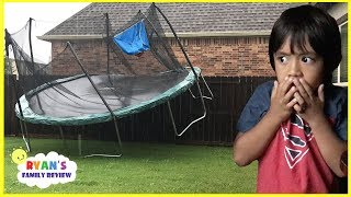 Scary Storm blew away our trampoline and Lights Went Out with Ryan