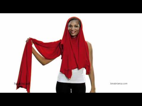 Red Headscarf Shawl - How to Make The Bina a Headscarf