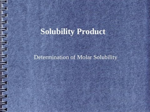 Solubility Product | Ksp | Molar solubility calculation |