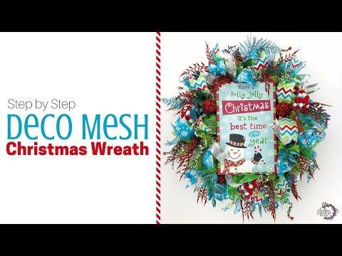 Step by Step Deco Mesh Christmas Wreath