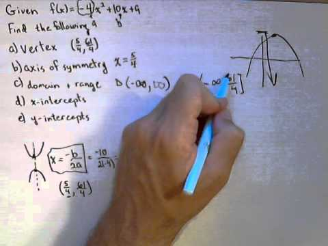 For a Quadratic Function find Vertex, Axis of Symmetry, Domain and Range, Intercepts