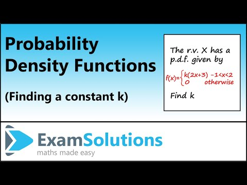Probability Density Function (p.d.f.) Finding k (Part 1) : ExamSolutions Maths Revision