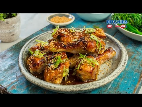 Sticky honey soy chicken drumsticks