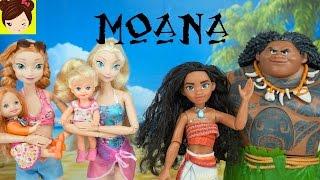 Elsa y Anna Conocen a MOANA - La Bebe de Anna  Casi se Ahoga - Pelicula Moana