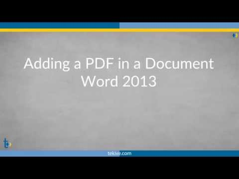 Add a PDF into Documents Word 2013 - How To