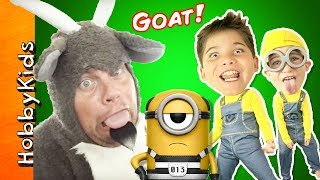SILLY GOAT and KIDS in Minion Costumes Open Despicable Me Toys