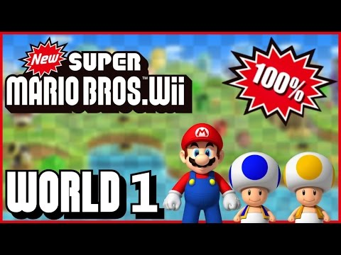 New Super Mario Bros Wii - World 1 (Peach Castle) 100% multiplayer walkthrough