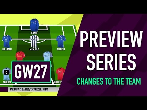 Gameweek 27 Preview | CHANGES TO THE TEAM | Fantasy Premier League 2016/17