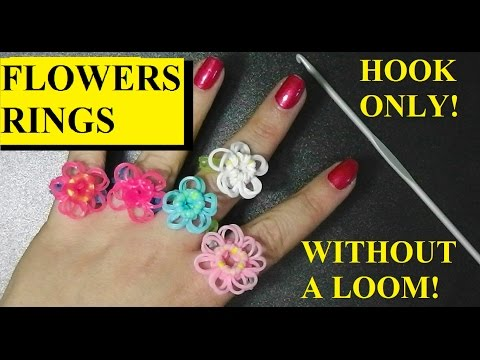 HOW TO MAKE FLOWERS WITH HOOK ONLY!. WITHOUT RAINBOW LOOM. FLOWER RING
