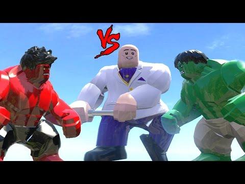 HULK VS KINGPIN VS RED HULK - LEGO FIGHT (LEGO MARVEL SUPER HEROES)