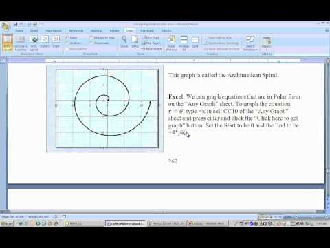 5.5.1 Polar Coordinates and graphs using Excel part 1
