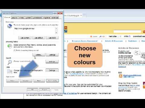 Change web colours with IE
