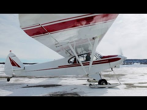1st time Ski Flying! - Super Cub - Tail Wheel Conversion Training - POV