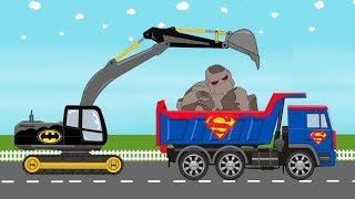 Superman Big Truck and Batman Excavator Vs Stone Giant | Superheroes - Video for Kids