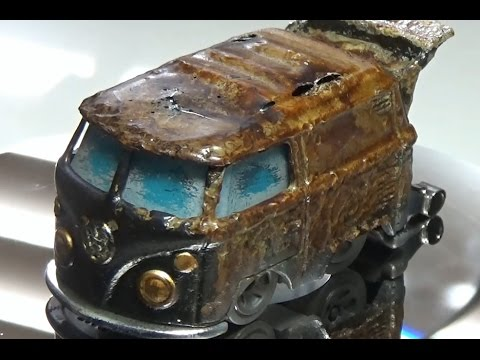How to use vegetable shortening as a rust effect on a die cast car.