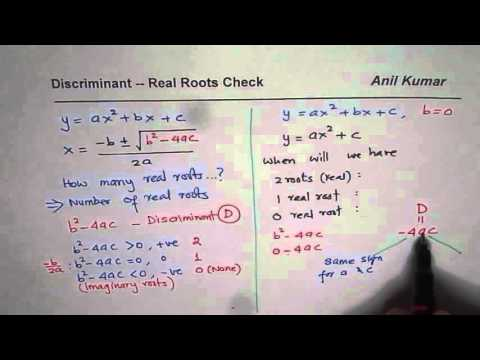 Find the number of real roots of quadratic equation checking Discriminant when b is zero