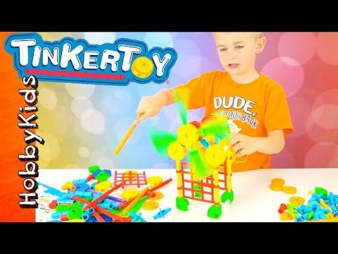 Tinker Toys! HobbyFrog Builds Bridge + Super Model Set Toy Review Family Fun HobbyKidsTV