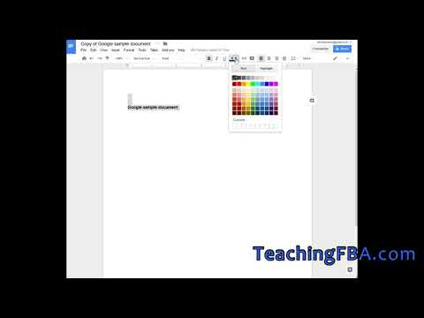 Google Docs - Changing the Document Font Size Font Color Bold
