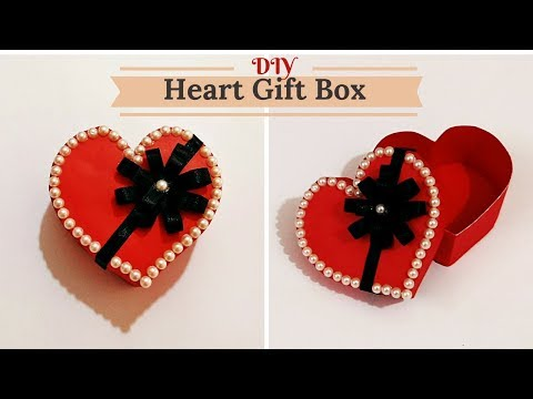 How to Make Heart/Love Shape Gift Box for Valentine/ Birthday/ Anniversary gifts ||  Craftastic