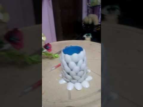 Flower pot with waste material